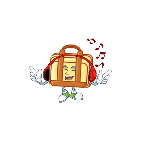 Listening music work suitcase cartoon character with mascot vector illustration