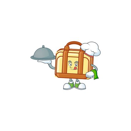 Chef with food work suitcase cartoon character with mascot vector illustration Illustration