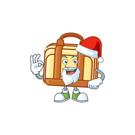 Santa work suitcase character on white background vector illustration