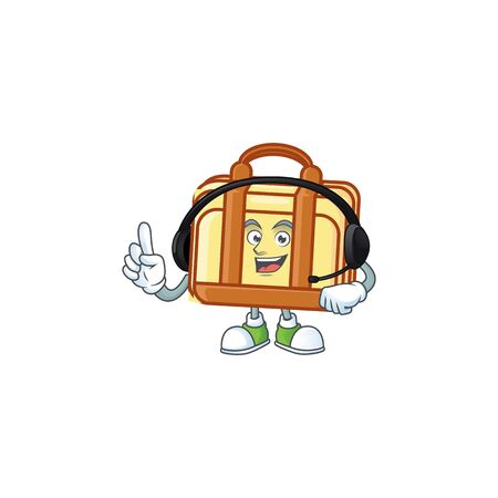 With headphone work suitcase character on white background vector illustration 向量圖像