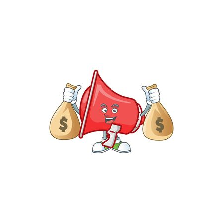 With money bag red loudspeaker cartoon character with mascot vector illustration