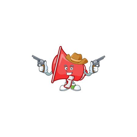 Cowboy red loudspeaker cartoon character with mascot