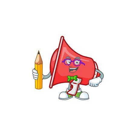 Student red loudspeaker character for speak loud. Çizim