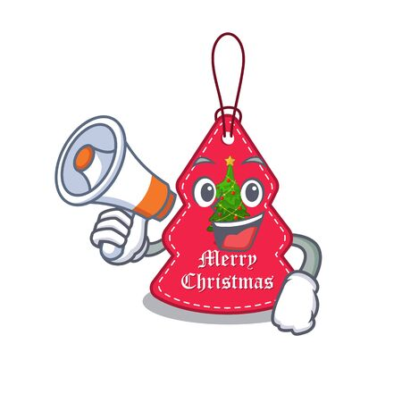 With megaphone christmas tag hanging isolated with cartoon vector illustration