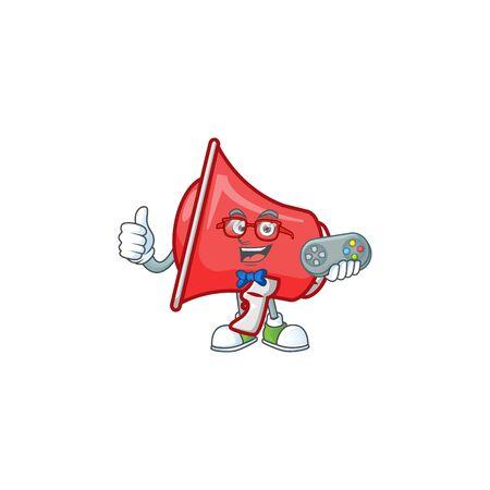 Gamer red loudspeaker mascot on white background Çizim