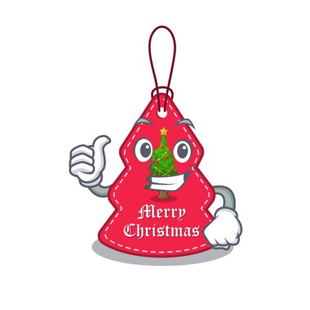 Thumbs up christmas tag hanging on mascot shape vector illustration