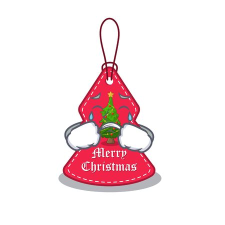 Crying Christmas tag hanging of character door vector illustration Banque d'images - 130669732