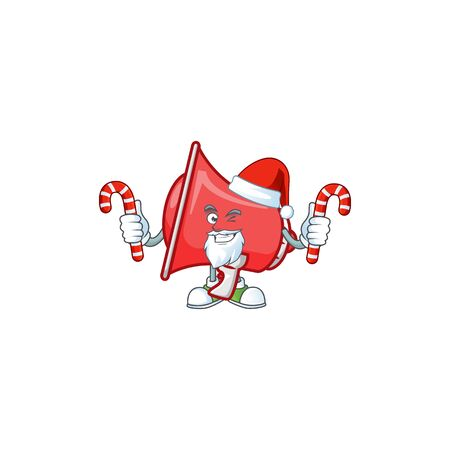 Santa with candy red loudspeaker with cartoon mascot style