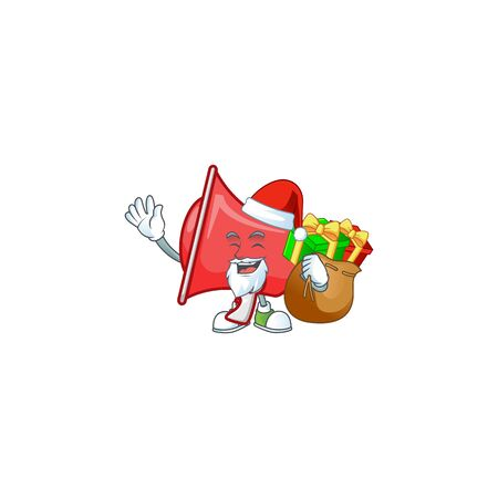 Santa with gift red loudspeaker with cartoon mascot style
