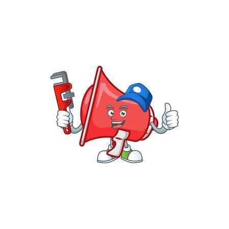 Plumber red loudspeaker with cartoon mascot style 向量圖像