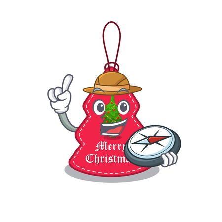Explorer Christmas tag hanging of character door vector illustration Banque d'images - 130669739