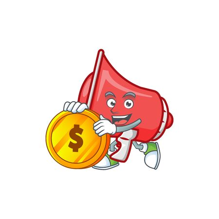 Bring coin red loudspeaker with cartoon mascot style Çizim