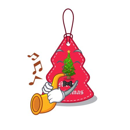 With trumpet Christmas tag hanging of character door vector illustration Banque d'images - 130670510