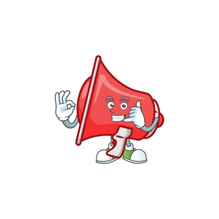 Call me red loudspeaker with cartoon mascot style Vectores