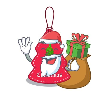 Santa with gift Christmas tags hanging on cartoon walls vector illustration Banque d'images - 130670520