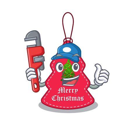 Plumber Christmas tags hanging on cartoon walls vector illustration