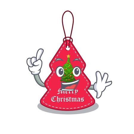 Finger Christmas tags hanging on cartoon walls vector illustration Banque d'images - 130670525