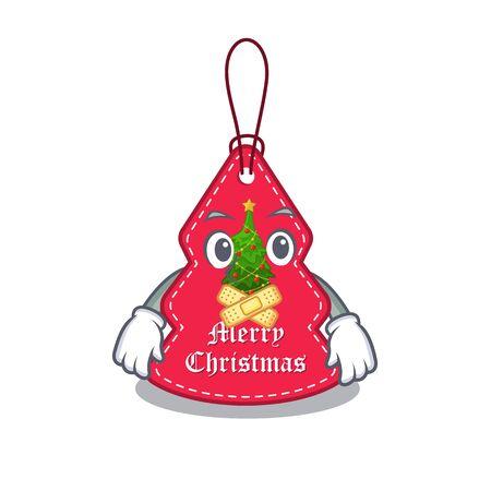 Silent Christmas tags hanging on cartoon walls vector illustration