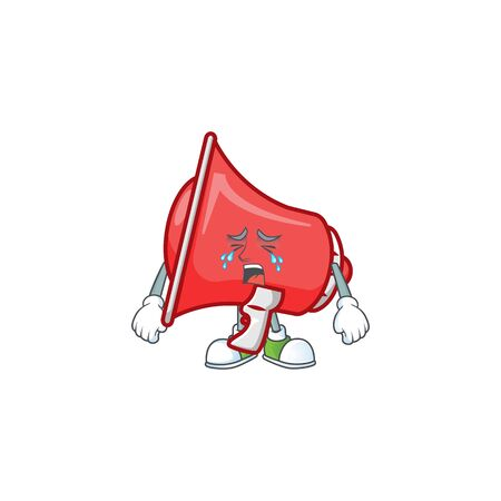 Crying red loudspeaker mascot on white background vector illustration