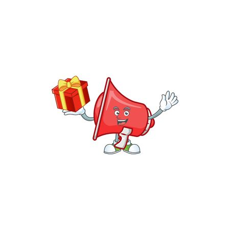 Bring gift red loudspeaker with cartoon mascot style
