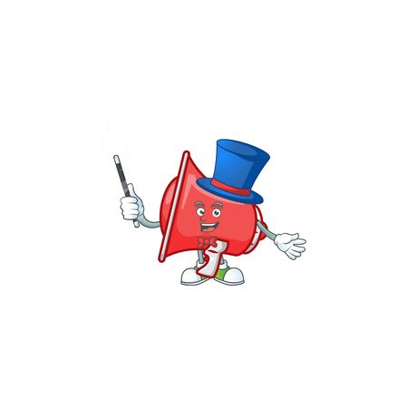 Magician red loudspeaker with cartoon mascot style