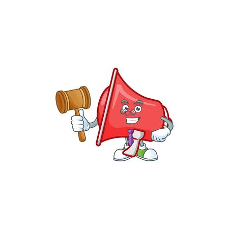 Judge red loudspeaker with cartoon mascot style