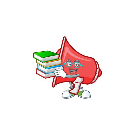 Student with book red loudspeaker with cartoon mascot style Çizim