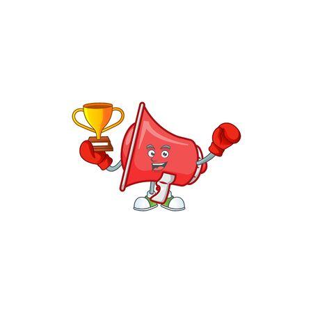 Boxing winner red loudspeaker with cartoon mascot style
