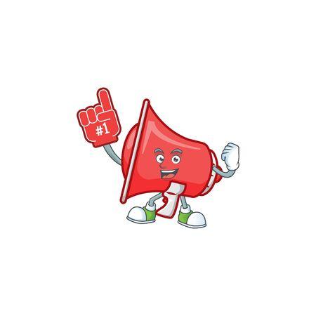 Foam finger red loudspeaker with cartoon mascot style