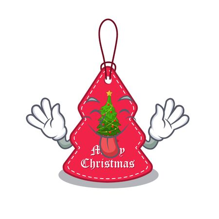 Tongue out Christmas tags hanging on cartoon walls vector illustration Banque d'images - 130670604
