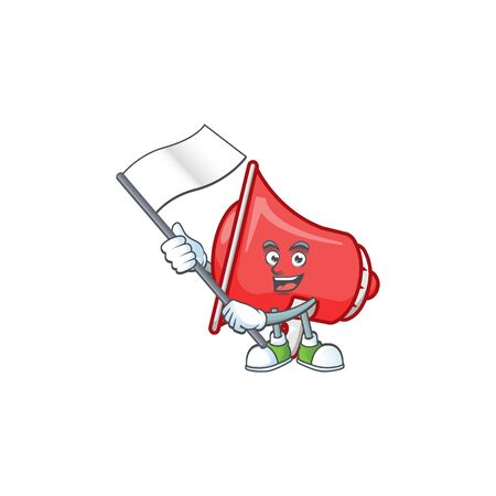 With flag red loudspeaker with cartoon mascot style