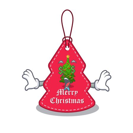 Money eye Christmas tags hanging on cartoon walls vector illustration Banque d'images - 130671191