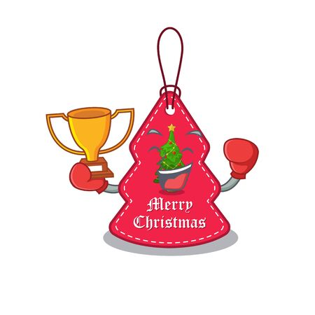 Boxing winner Christmas tags hanging on cartoon walls vector illustration Banque d'images - 130671194
