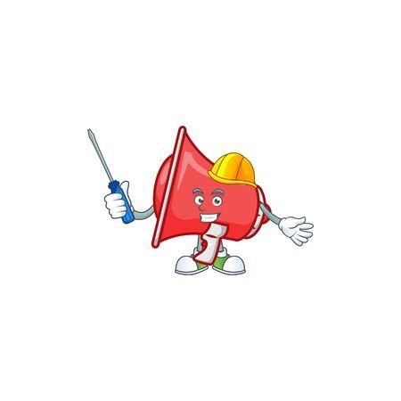 Automotive red loudspeaker with cartoon mascot style Çizim
