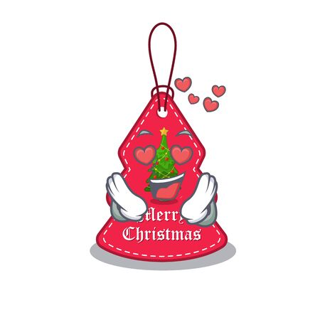 In love Christmas tag hanging of character door vector illustration Banque d'images - 130671199