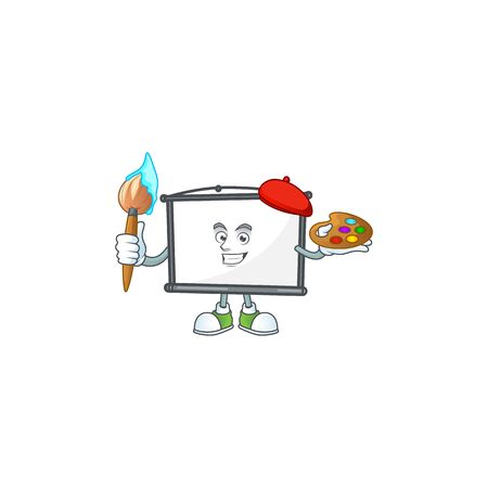 Painter empty project screen on the mascot vector illustration