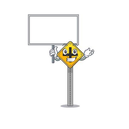 Bring board crossroad sign cartoon shape the mascot vector illustration