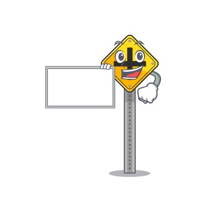 With board crossroad sign cartoon shape the mascot vector illustration