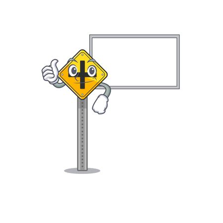 Thumbs up with board crossroad sign cartoon shape the mascot vector illustration