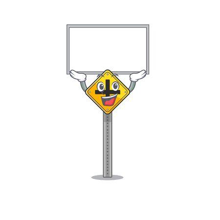 Up board crossroad sign cartoon shape the mascot vector illustration Çizim