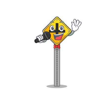 Singing crossing sign at the roadside character vector illustration Ilustrace