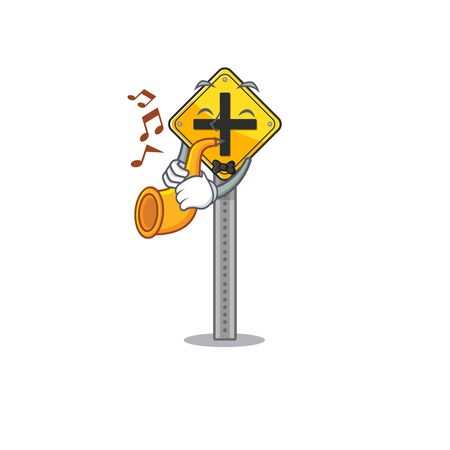 With trumpet crossing sign at the roadside character vector illustration