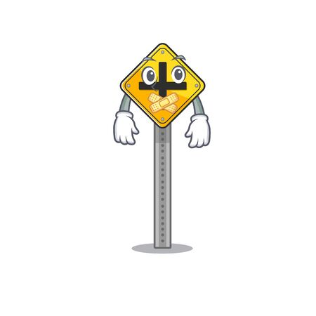 Silent toy crossing sign on cartoon table vector illustration