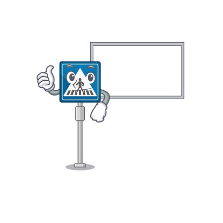 Thumbs up with board toy crosswalk sign on character table vector illustration