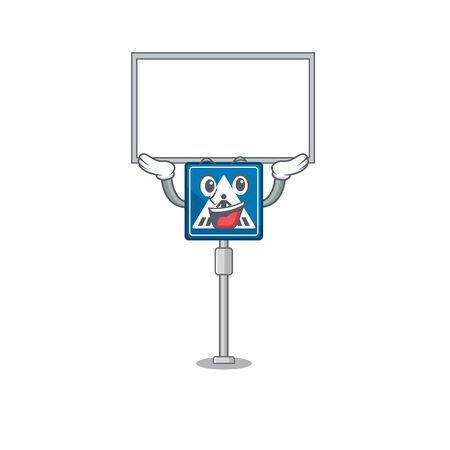 Up board toy crosswalk sign on character table vector illustration