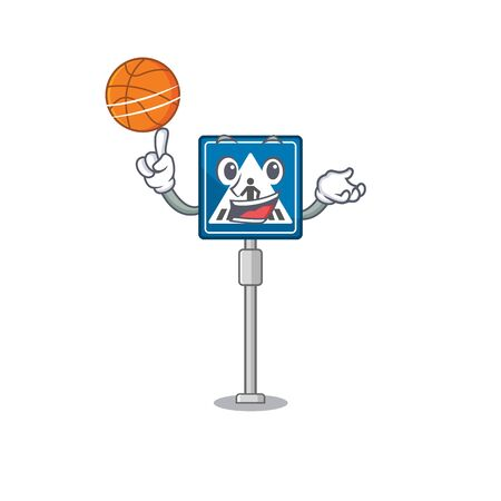 With basketball toy crosswalk sign on character table vector illustration
