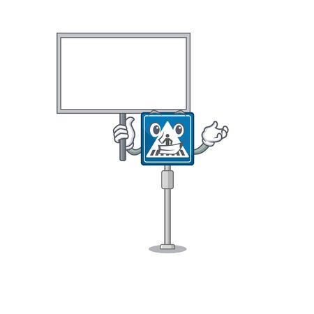 Bring board toy crosswalk sign on character table vector illustration Çizim