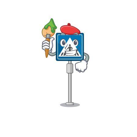 Artist toy crosswalk sign on character table vector illustration