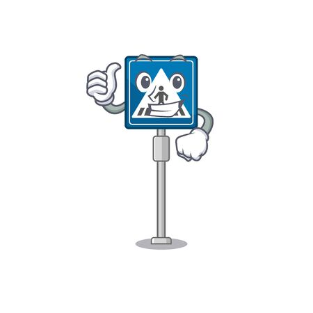 Thumbs up crosswalk sign isolated in the cartoon vector illustration Çizim