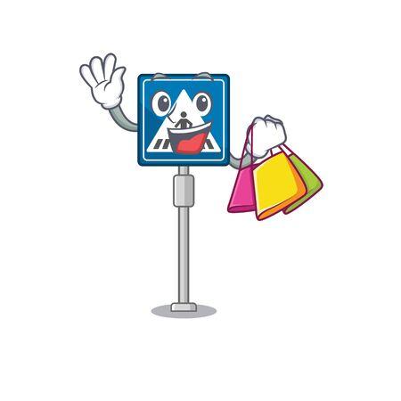 Shopping crosswalk sign isolated in the cartoon vector illustration Illustration